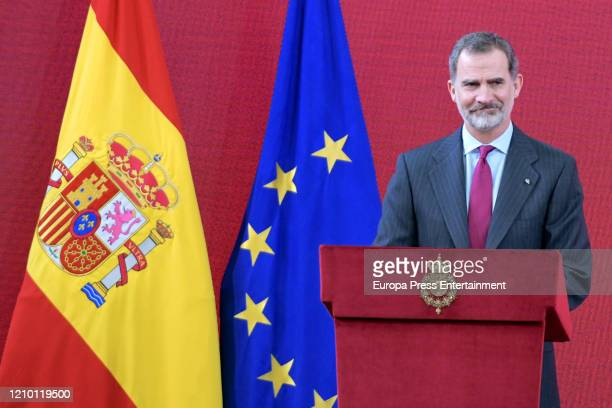 King Felipe of Spain delivers accreditations on the 8th Promotion Of Honorary Ambassadors for 'Spain' Brand at El Pardo on March 03, 2020 in Madrid,...