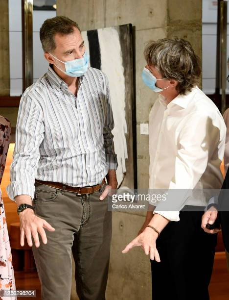 King Felipe of Spain during a visit to a cultural centre with Queen Letizia of Spain on July 15 2020 in Soria Spain This trip is part of a royal tour...
