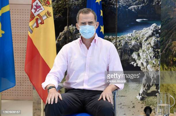 King Felipe of Spain during a visit to Cogersa Waste Treatment with Queen Letizia of Spain on July 30, 2020 in Gijon, Spain. This trip marks the end...