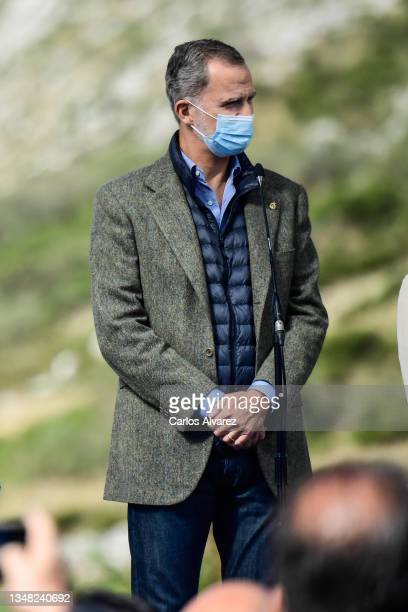 King Felipe of Spain during their visit to Santa Maria del Puerto de Somiedo, which has been honoured as the 2021 Best Asturian Village, the day...