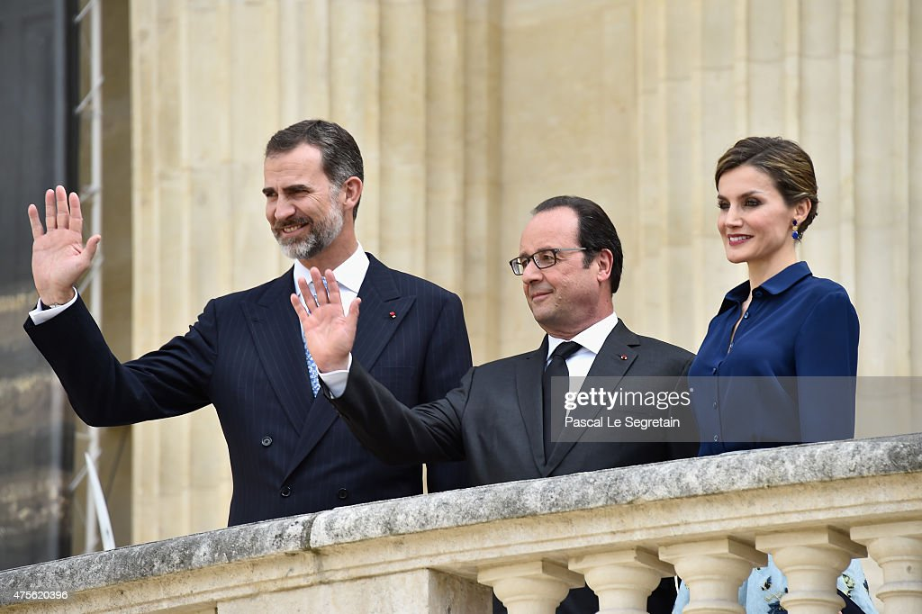 King Felipe of Spain, French President Francois Hollande and Queen Letizia of Spain arrive to attend the Velasquez painting exhibition at the Grand Palais on June 2, 2015 in Paris, France.