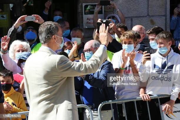 King Felipe of Spain is seen greeting the residents of the Soria town of Vinuesa on July 15 2020 in Vinuesa Soria Spain This trip is part of a royal...