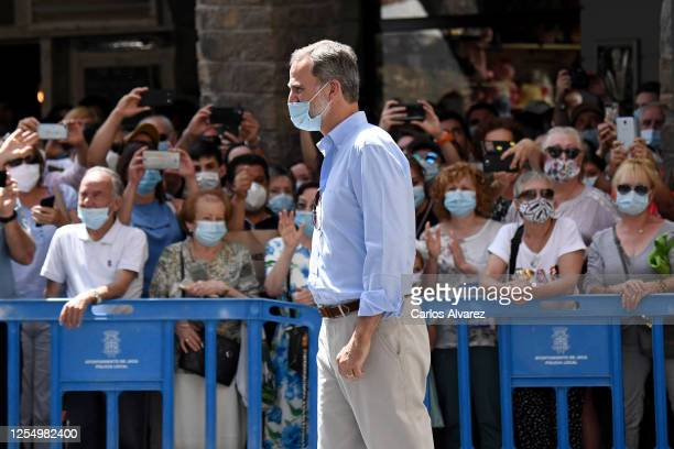 King Felipe of Spain is seen visiting the downtown area of Jaca and the Cathedral on July 08 2020 in Jaca Spain This trip is part of a royal tour...