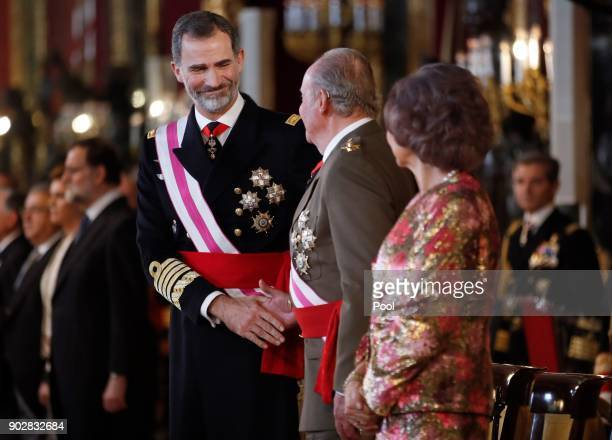 King Felipe of Spain, King Juan Carlos and Queen Sofia attend the Pascua Militar ceremony at the Royal Palace on January 6, 2018 in Madrid, Spain.