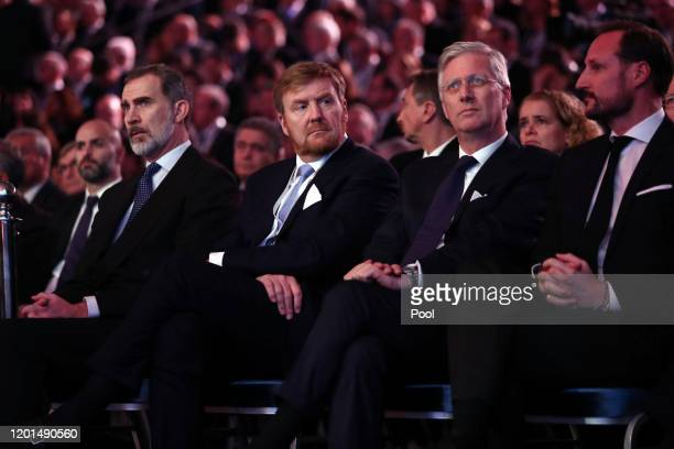 King Felipe of Spain , King Willem-Alexander of the Netherlands and King Phillipe of Belgium at the 5th World Holocaust Forum at Yad Vashem Holocaust...