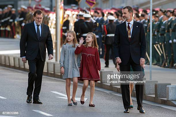 King Felipe of Spain Mariano Rajoy Princess Leonor and Princess Sofia attend the opening ceremony of 12th legislative session at the Spanish...