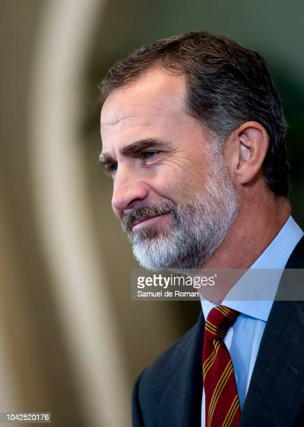 King Felipe of Spain Meets Young Leaders of Munich Group at Zarzuela Palace on September 28 2018 in Madrid Spain