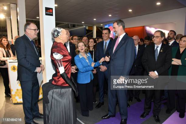 King Felipe of Spain , Pedro Sanchez , Quim Torra and Ada Colau inaugurate the Mobile World Congress 2019 on February 25, 2019 in Barcelona, Spain.