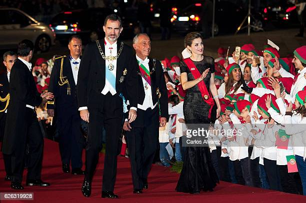 King Felipe of Spain, President of Portugal Marcelo Rebelo de Sousa and Queen Letizia of Spain attend a Gala Dinner at the Dukes of Braganza Palace...