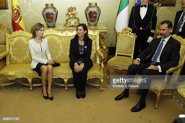 King Felipe of Spain President of the Chamber of Deputies Laura Boldrini and Queen Letitia of Spain meet at Palazzo Montecitorio during the Spanish...