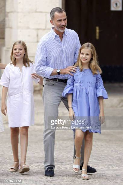 King Felipe of Spain Princess Leonor of Spain and Princess Sofia of Spain pose for the photographers during the summer session at the Almudaina...