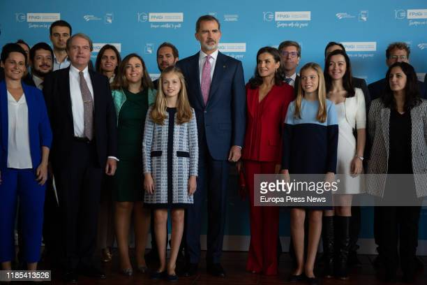 King Felipe of Spain, Queen Letizia, Infanta Sofia and Princess Leonor, pose with the award winners for the Princess of Girona Foundation on November...