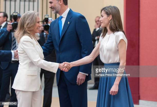 King Felipe of Spain Queen Letizia of Spain and Alicia Koplowitz attend the meeting with members of Princess of Asturias Foundation at El Pardo...