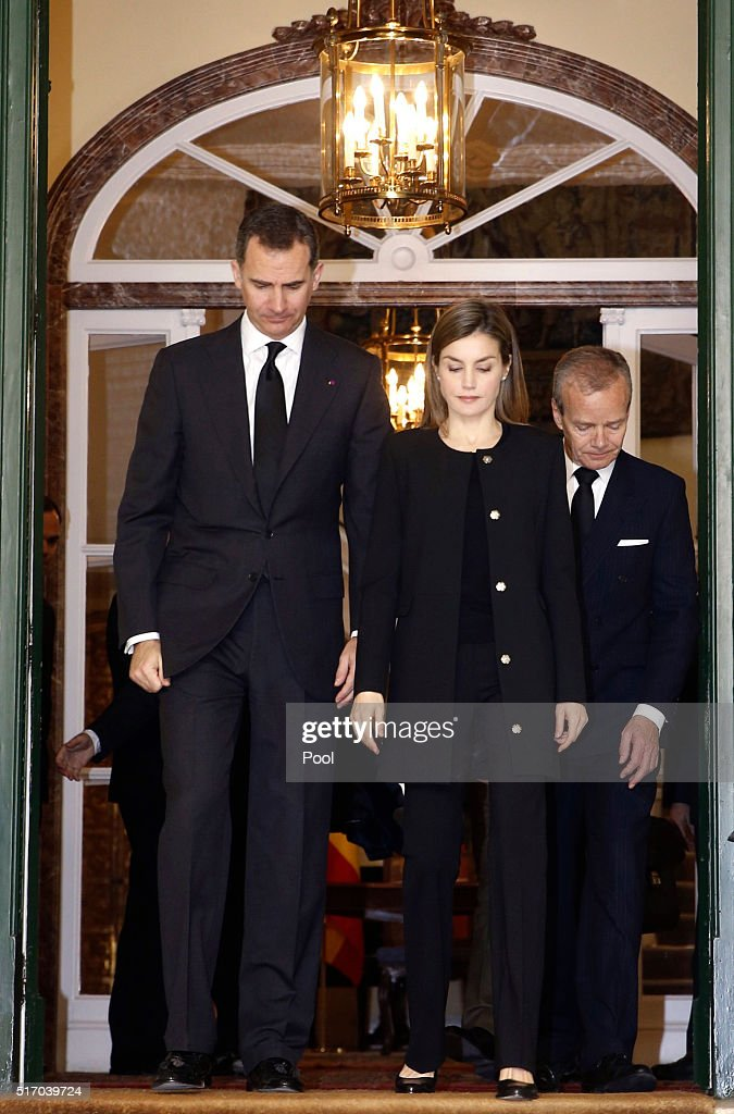 King Felipe of Spain, Queen Letizia of Spain and Belgiam ambassador Pierre Labouverie leave the Belgium Embassy after signing the book of condolences after terrorist attacks on March 23, 2016 in Madrid, Spain. Belgium is observing three days of national mourning after 34 people were killed in a twin suicide blast at Zaventem Airport and a further bomb attack at Maelbeek Metro Station. Two brothers are thought to have carried out the airport attack and an international manhunt is underway for a third suspect. The attacks come just days after a key suspect in the Paris attacks, Salah Abdeslam, was captured in Brussels.
