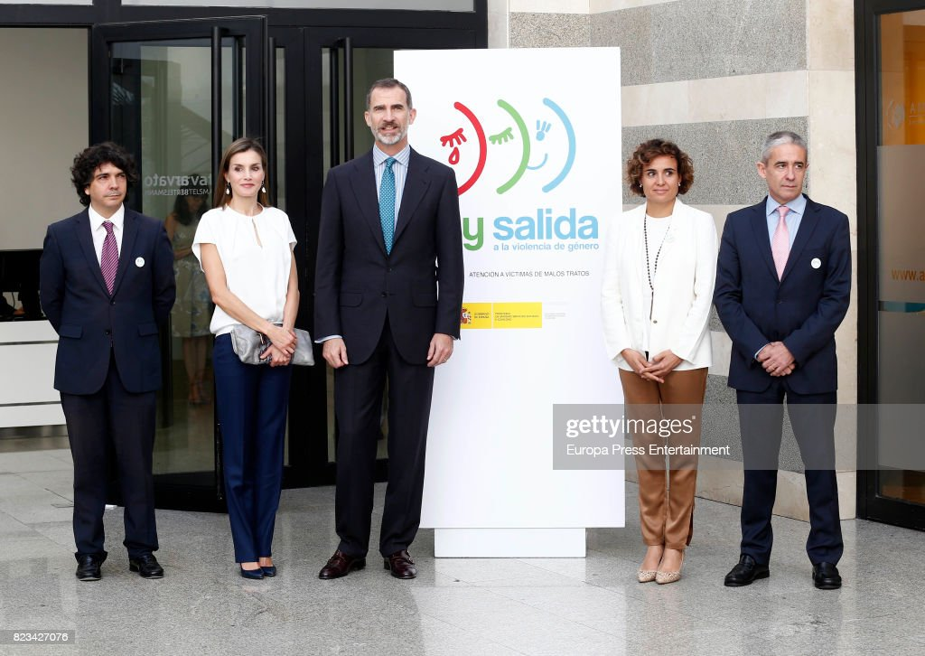 King Felipe of Spain, Queen Letizia of Spain (2L) and Dolors Montserrat (2R) attend the 016 Telefonic Hotline Central for Gender Violence Assistance on July 27, 2017 in Madrid, Spain.
