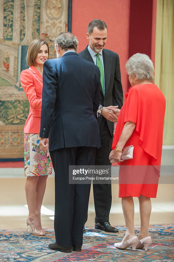 King Felipe of Spain, Queen Letizia of Spain (L) and Javier Soto Fitz-James Stuart (2L) attend the bicentenary of the Council of The Greatness of Spain on June 16, 2015 in Madrid, Spain.