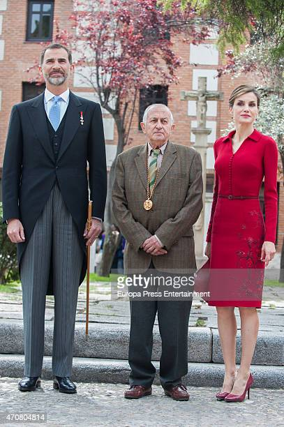 King Felipe of Spain Queen Letizia of Spain and Juan Goytisolo attend Cervantes Award Ceremony at Alcala de Henares University on April 23 2015 in...