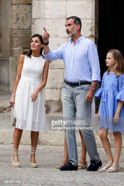 King Felipe of Spain Queen Letizia of Spain and Princess Leonor of Spain pose for the photographers during the summer session at the Almudaina Palace...