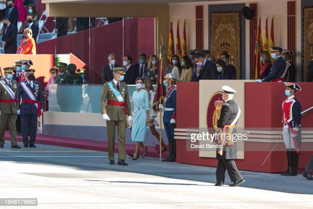 King Felipe of Spain, Queen Letizia of Spain and Princess Leonor attend the National Day Military Parade on October 12, 2021 in Madrid, Spain.