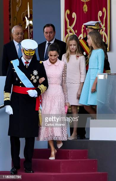 King Felipe of Spain Queen Letizia of Spain Princess Leonor and Princess Sofia attend the National Day Military Parade on October 12 2019 in Madrid...