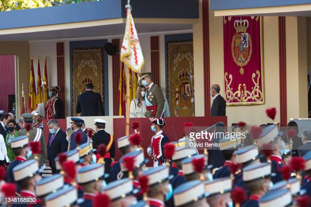 King Felipe of Spain, Queen Letizia of Spain, Princess Leonor and Spanish Prime Minister Pedro Sánchez attend the National Day Military Parade on...