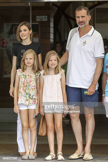 King Felipe of Spain Queen Letizia of Spain Princess Leonor and Princess Sofia attend 34th Copa del Rey Mapfre Sailing Cup Awards Ceremony on August...