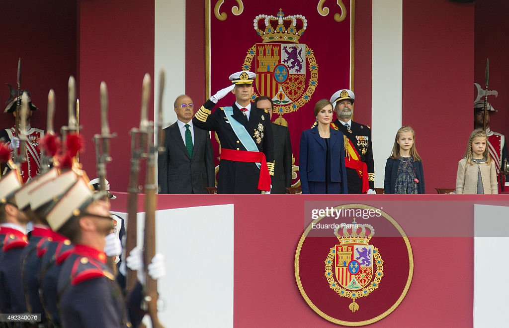 King Felipe of Spain, Queen Letizia of Spain, Princess Leonor and Princess Sofia attend the National Day Military Parade 2015 on October 12, 2015 in Madrid, Spain.