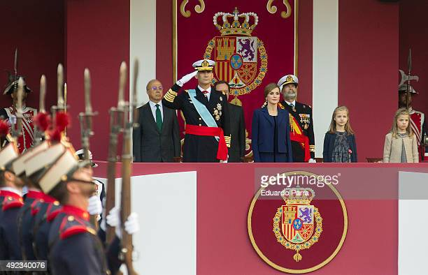 King Felipe of Spain Queen Letizia of Spain Princess Leonor and Princess Sofia attend the National Day Military Parade 2015 on October 12 2015 in...