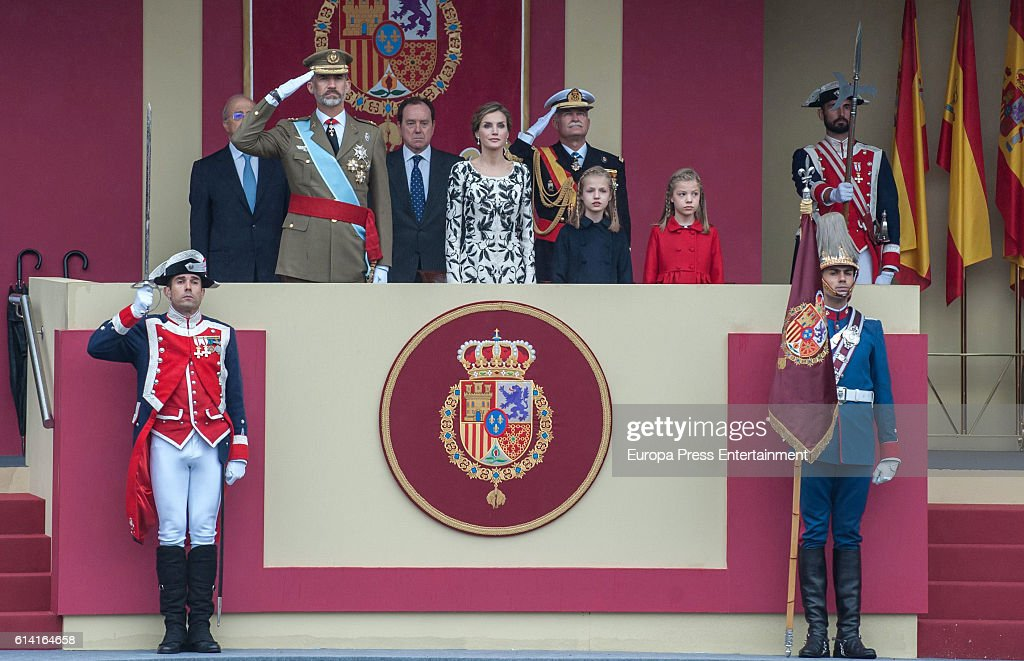 King Felipe of Spain, Queen Letizia of Spain, Princess Leonor (2R) and Princess Sofia attend the National Day Military Parade 2016 on October 12, 2016 in Madrid, Spain.