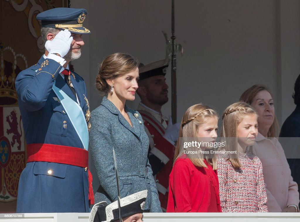 King Felipe of Spain, Queen Letizia of Spain, Princess Leonor and Princess Sofia attend the National Day Military Parade 2017 on October 12, 2017 in Madrid, Spain.