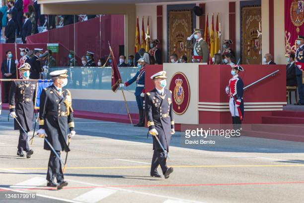 King Felipe of Spain, Queen Letizia of Spain, Princess Leonor and the president of the Spanish government Pedro Sánchez attend the National Day...