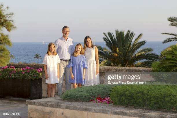 King Felipe of Spain poses for the photographers during the summer session at the Almudaina Palace on July 29 2018 in Palma de Mallorca Spain