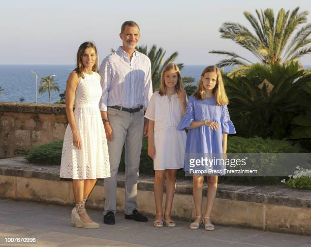 King Felipe of Spain Queen Letizia of Spain Princess Leonor of Spain and Princess Sofia of Spain pose for the photographers during the summer session...