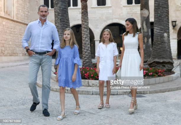 King Felipe of Spain, Queen Letizia of Spain, Princess Leonor of Spain and Princess Sofia of Spain pose for the photographers during the summer...