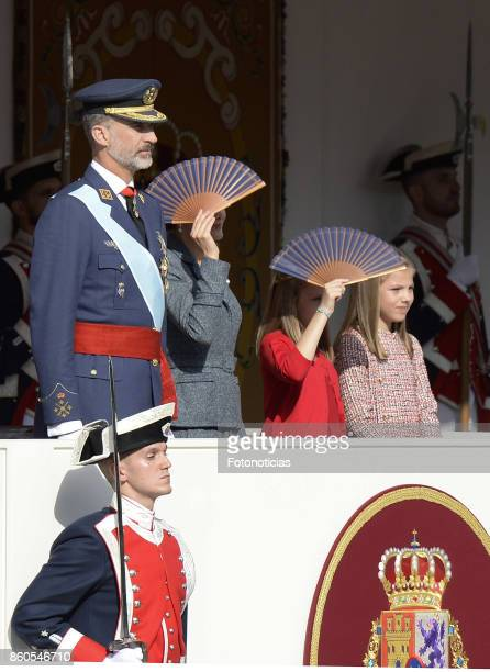 King Felipe of Spain Queen Letizia of Spain Princess Leonor of Spain and Princess Sofia of Spain attend the National Day Military Parade on October...