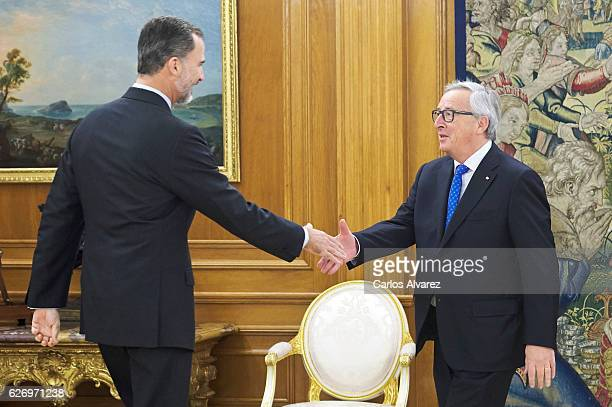 King Felipe of Spain receives JeanClaude Juncker at Zarzuela Palace Zarzuela Palace on December 1 2016 in Madrid Spain