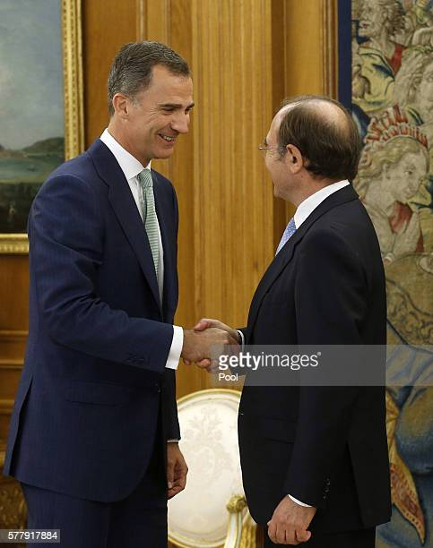 King Felipe of Spain receives Senate President Pio Garcia Escudero at Zarzuela Palace to be briefed about the constitution and composition of the...