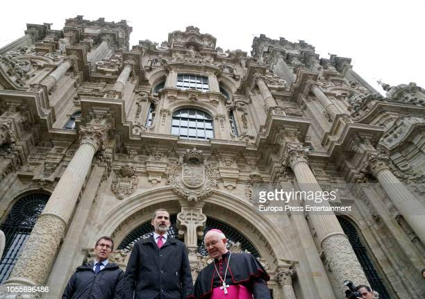 King Felipe of Spain visits Santiago de Compostela's cathedral after the completion of the restauration on October 30 2018 in Santiago de Compostela...