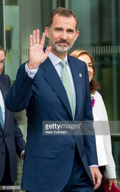 King Felipe of Spain visits the Francis Crick Institute during a State visit by the King and Queen of Spain on July 14 2017 in London This is the...