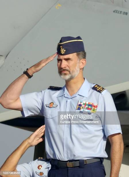 King Felipe of Spain visits the Moron military air base on September 21 2018 in Seville Spain