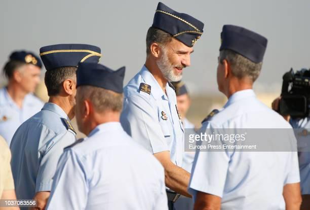 King Felipe of Spain visits the Moron military air base on September 21 2018 in Seville Spain