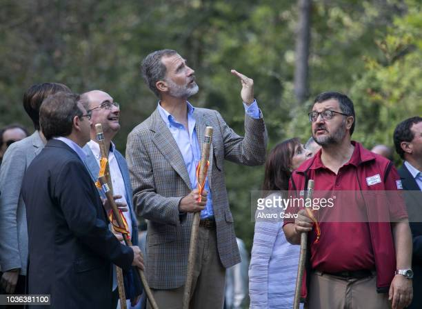 King Felipe of Spain with President of Aragón Javier Lamban Attends The Commemorative Acts of The Centennial Of The Ordesa National Park And Monte...