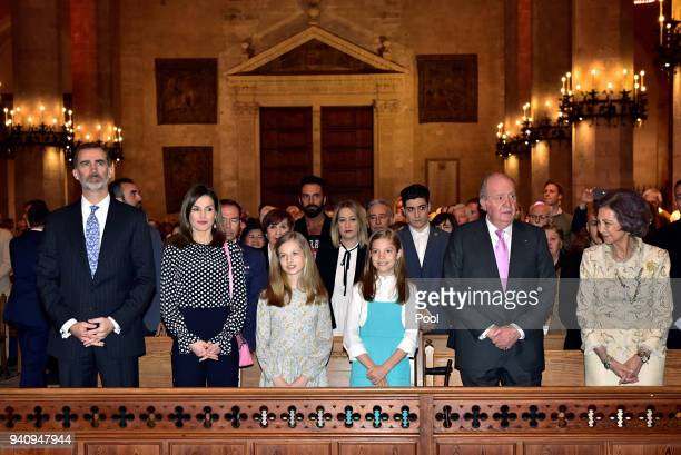 King Felipe Queen Letizia Princess Leonor Princess Sofia of Spain King Juan Carlos and Queen Sofia attend the Easter mass on April 1 2018 in Palma de...