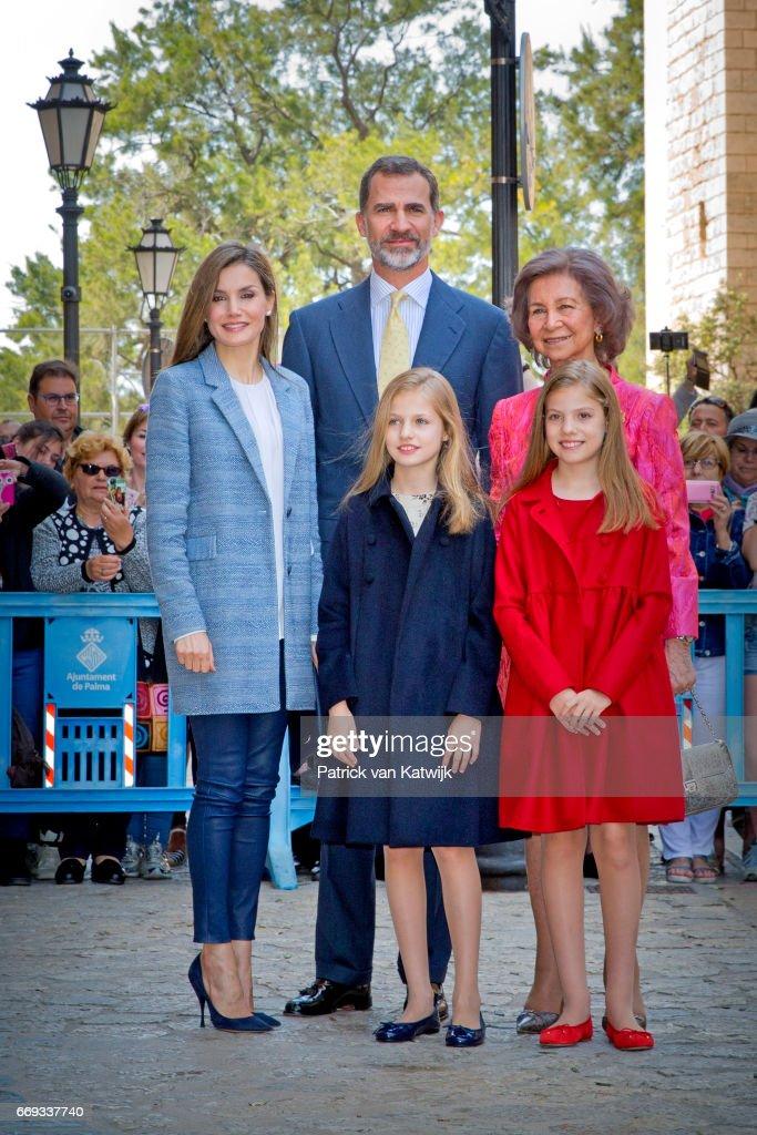 Spanish Royals Attends Easter Mass in Palma de Mallorca : News Photo