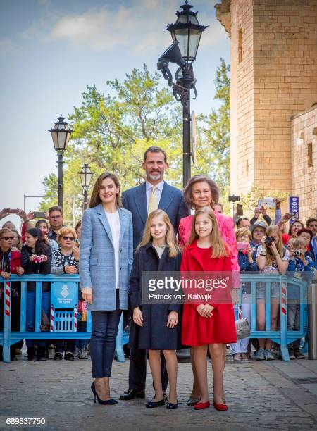 King Felipe Queen Letizia Queen Sofia Princess Leonor and Princess Sofia of Spain attend the easter mass on April 16 2017 in Palma de Mallorca Spain