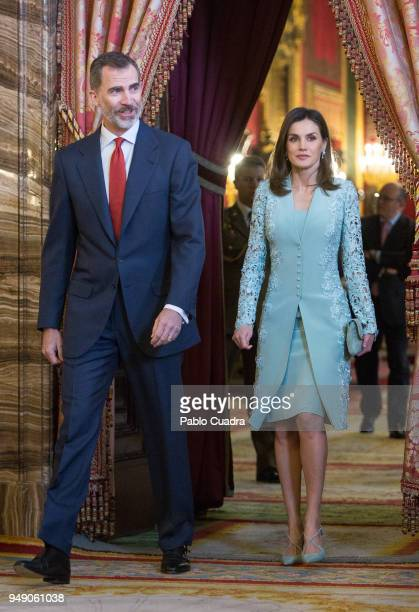 King Felipe V of Spain and Queen Letizia of Spain attend an official lunch for the 'Miguel de Cervantes 2016' Literature award at the Royal Palace on...