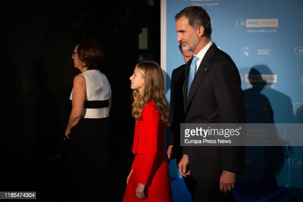King Felipe VI and Princess Leonor are seen at their arrival to the 'Princesa de Girona' Foundation Awards and the celebration of its tenth...