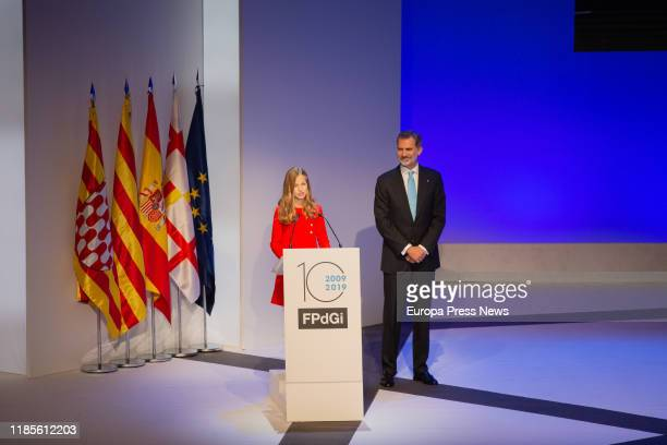 King Felipe VI and Princess Leonor are seen during the Princess of Girona Foundation Awards celebration of its tenth anniversary on November 04 2019...