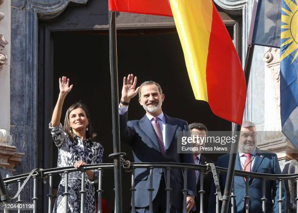 King Felipe VI and Queen Letizia are seen during their visit to Ecija on February 06, 2020 in Sevilla, Spain.