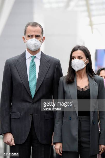King Felipe VI and Queen Letizia attend the inauguration of Ibedrola's Innovation and Formation center on April 09, 2021 in San Agustin de Guadalix,...